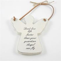 Don't Live Life Faster - Angel Wooden Hanger