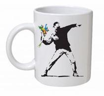 Banksy - Flower Thrower Mug