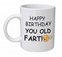 Happy Birthday You Old Fart Emoji & Text Mug