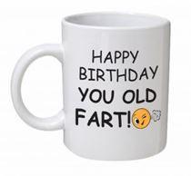 Happy Birthday You Old Fart Emoji & Text Mug