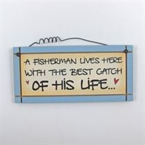 A Fisherman Lives Here - Mini Magnetic Plaque