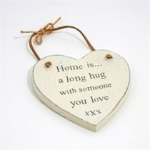 Home Is A Long Hug - Heart Hangers
