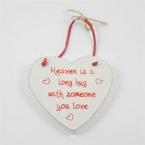 Heaven Is A Long Hug - Red Loving Heart Hanger