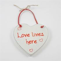 Love Lives Here - Red Loving Heart Hanger