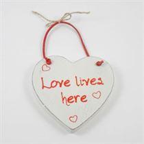 Love Lives Here - Red Loving Heart Hanger