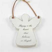 Happy Is The Heart - Angel Wooden Hanger