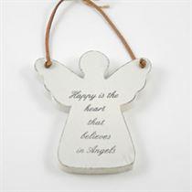 Happy Is The Heart - Angel Wooden Hanger