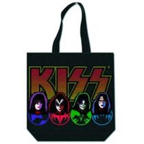 KISS Cotton Tote Bag: Faces & Logo (with zip top) - Music and Media