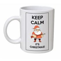 Keep Calm It's Christmas Santa Gun Mug